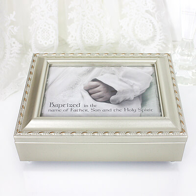 Musical keepsake box for Baptism gifts. Champagne silver box, photo lid, fully lined inside, plays Jesus Loves Me.