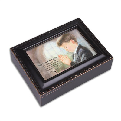 Keepsake memory box for boys First Communion in distressed black and gold. Music box with photo lid, lined interior, plays 'Hallelujah Chorus'.