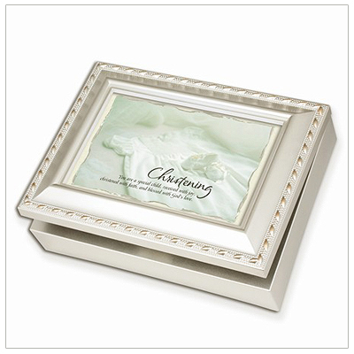 Music box for Christening keepsakes in champagne silver. Fully lines, photo lid, music box plays 'Jesus Loves Me'.