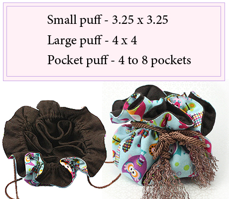 Pocket puff with 7 inner pockets for storing mothers jewelry.