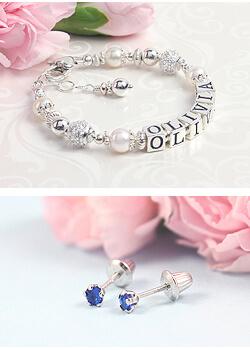 Children's name bracelet and baby earrings