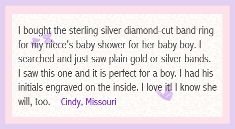 Customer review on sterling diamond-cut band ring.