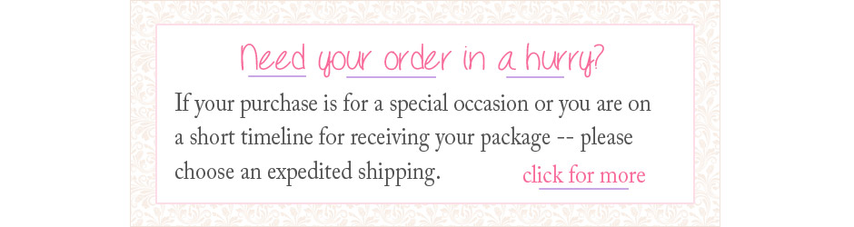 Choosing expedited shipping for baby jewelry.