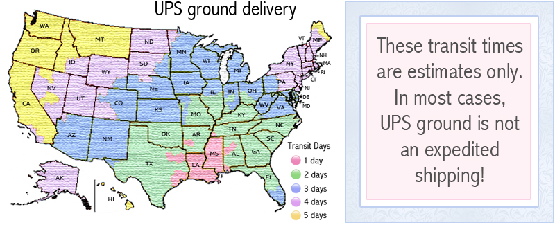 UPS ground map shipping estimates.