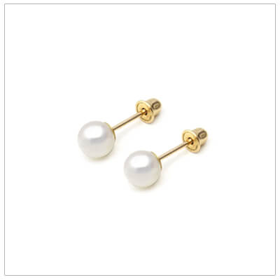 Classic baby pearl earrings in 14kt gold. These cultured pearls are 5mm and have screw backs.