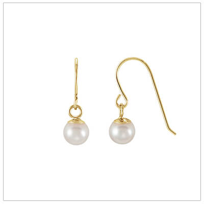 Pearl dangle earrings for kids in 14kt gold.