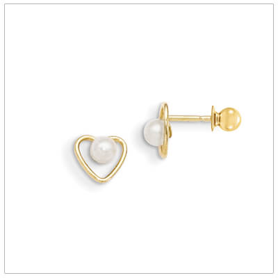 14kt gold heart earrings with white cultured pearls for baby and child. Heart earrings come with gold screw backs.