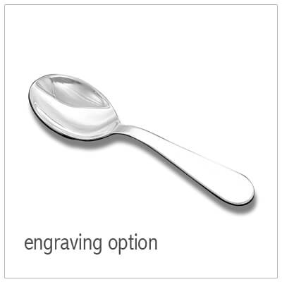 Sterling silver baby spoon with engraving available on the handle. Fine quality American made baby gift.