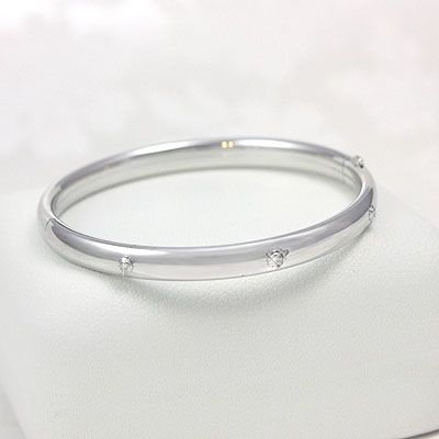 3 Diamond Silver Bangle Bracelet in sterling silver for children