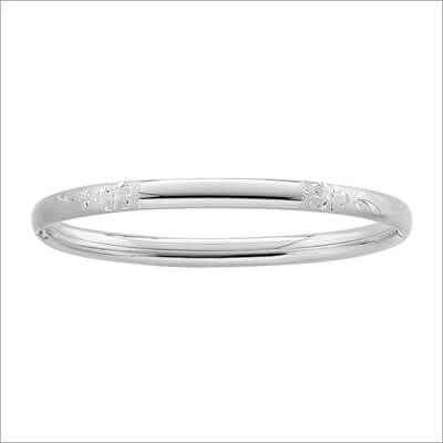 Engraved silver bangle bracelet for children with a safety hinge and manufacturer warranty.