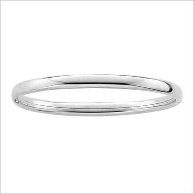 Polished Silver Bangle Bracelet 4.5 inches for baby and toddler