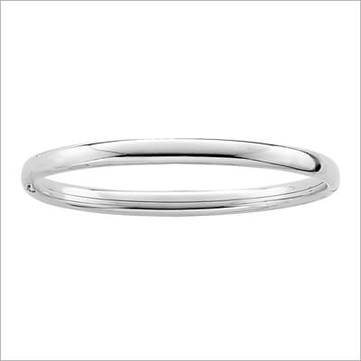 Polished Silver Bangle Bracelet 5.25 inches in bangle bracelets for children