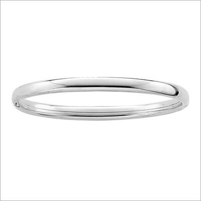 Polished Sterling Youth Bangle Bracelets with a safety hinge