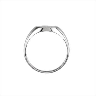 Side view of boys sterling signet ring.