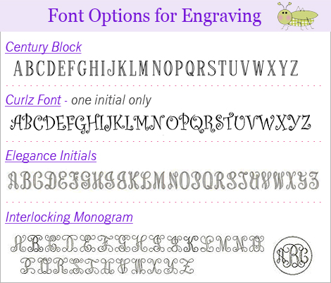 Available fonts for engraving signet rings.