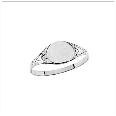 Boys white gold signet ring with a brushed round face. Engraving is included with our signet rings.