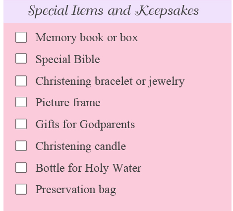 christening keepsakes list