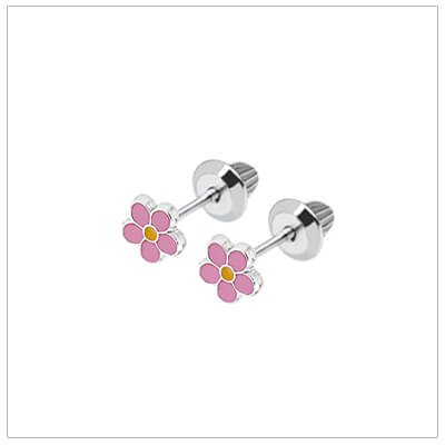 Sterling silver pink daisy earrings for babies and children; screw back earrings.