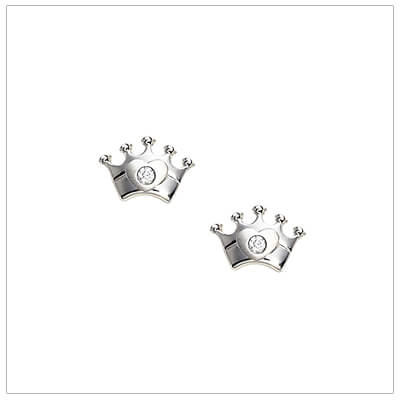 Sterling silver crown earrings for babies and children set with genuine diamonds; screw back earrings.
