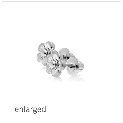 Sterling silver flower earrings for babies and toddlers with screw backs.