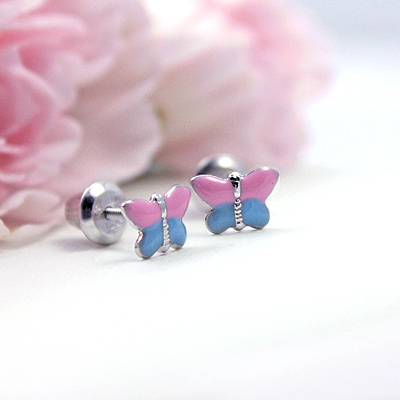 Charming screw back earrings for children. Sterling silver pink and blue butterfly earrings.