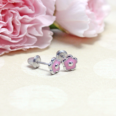 Sterling silver pink flower earrings for babies and children; screw back earrings.