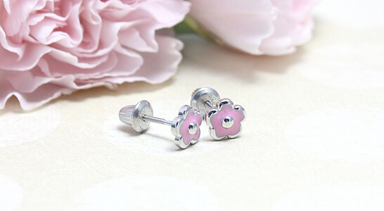 Sterling silver pink flower earrings for babies and children. Our adorable pink flowers are screw back earrings.