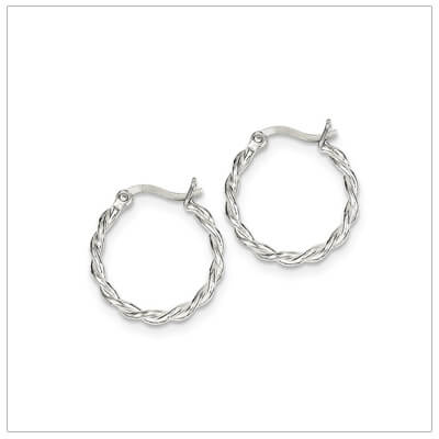 Sterling silver twist hoop earrings for children and teens.