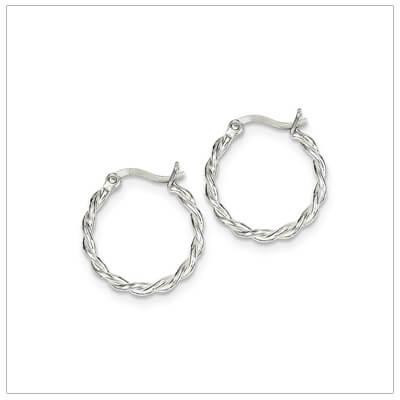 Sterling silver twist hoop earrings for children and teens.