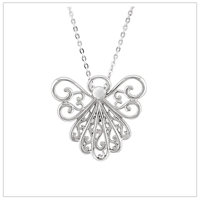Angel necklace in sterling silver with beautiful scroll work. The angel necklace has a hidden bail and comes with a sterling chain.