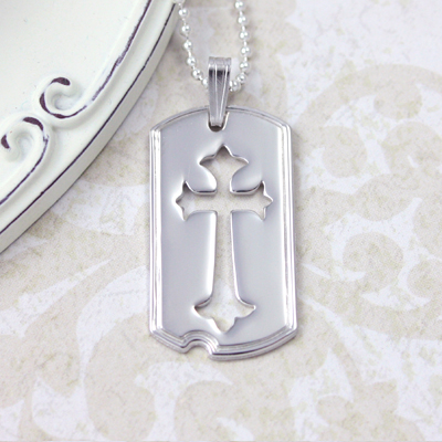 Beautiful sterling dog tag necklace for boys with Cross cutout design. 3 chain lengths available.
