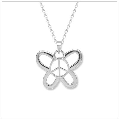 Adorable peace sign necklace inside a butterfly. The necklace is polished sterling silver and a favorite with girls!