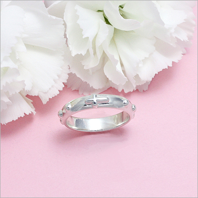 Silver rosary ring for girls -First Communion or Confirmation gift.