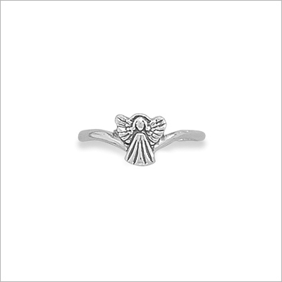 Adorable sterling silver angel ring for children. Tiny angel on a smooth polished band.