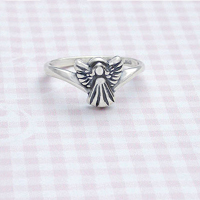 Sterling silver angel ring for children; christening or baptism gift.