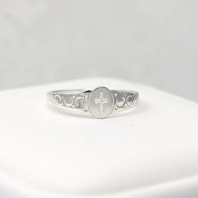Signet-style Cross ring for children; First Communion gift.