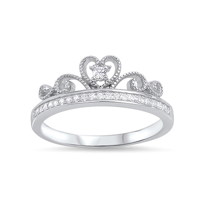 Sterling silver princess crown ring for girls set with clear cubic zirconia. The band has a row of tiny cz's.
