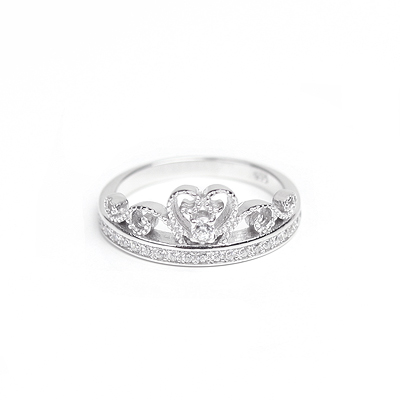 Sterling silver princess ring for girls set with clear cubic zirconia. 2 sizes.