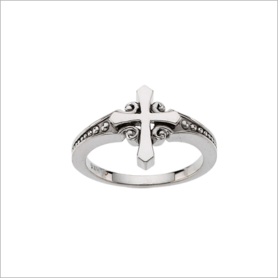 Cross ring in sterling silver with a scroll design and beaded ring band; 4 sizes.
