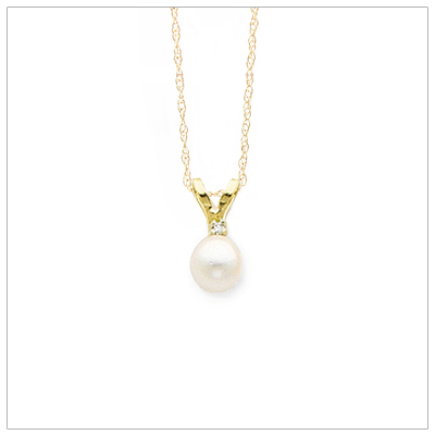 14kt gold June birthstone necklace with saltwater akoya pearl and accent diamond; chain included.