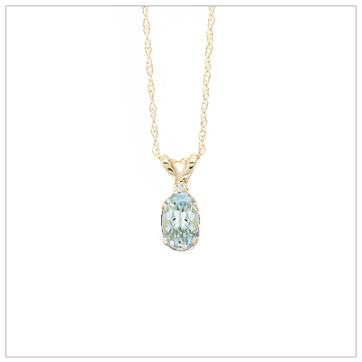 14kt gold March birthstone necklace with genuine aquamarine and accent diamond; chain included.