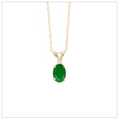 14kt gold May birthstone necklace with genuine emerald and accent diamond; chain included.
