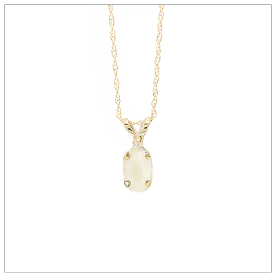 14kt gold October birthstone necklace with genuine white opal and accent diamond; chain included.