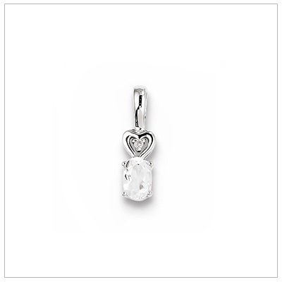 Sterling silver March birthstone necklace with genuine oval white topaz and diamond accent; chain included.