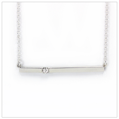 Chic sterling silver bar April birthstone necklace; sleek styling and genuine faceted white topaz.