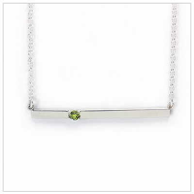 Chic sterling silver bar August birthstone necklace; sleek styling and genuine faceted peridot.