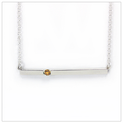 Chic sterling silver bar November birthstone necklace; sleek styling and genuine faceted citrine.
