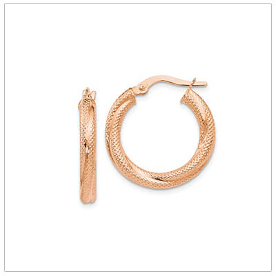 10kt rose gold hoop earrings with a polished and textured finish. Beautiful rose gold hoop earrings for teens and adults.