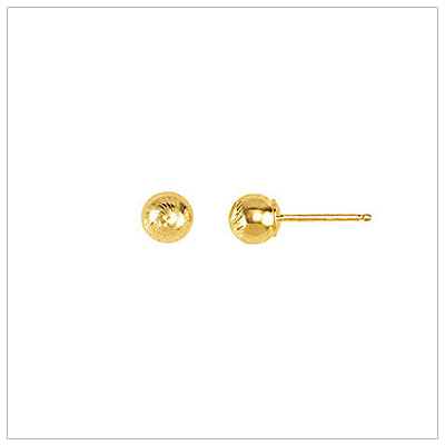 14kt Diamond-Cut Ball Earrings