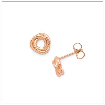 10kt rose gold knot earrings for teens and adults. The rose gold earrings have push on backs.